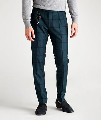 Berwich Morello Slim-Fit Windowpane Wool Pants