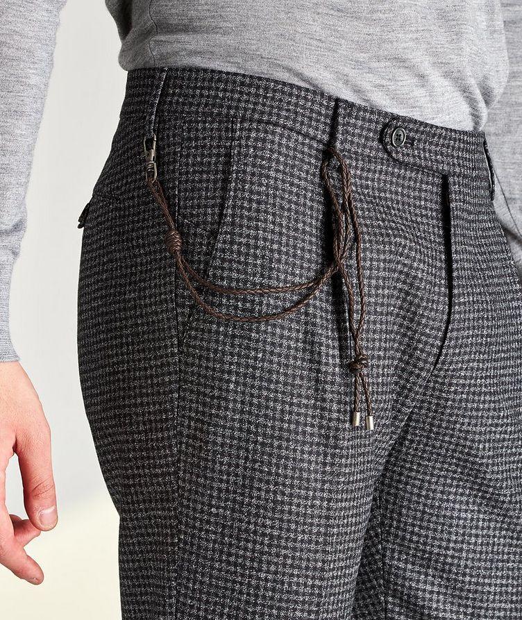 Morello Slim Fit Mini Check Wool Pants image 2