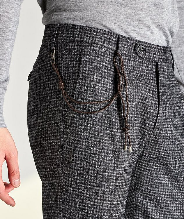 Morello Slim Fit Mini Check Wool Pants picture 3