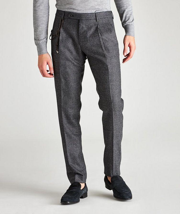 Morello Slim Fit Mini Check Wool Pants image 0