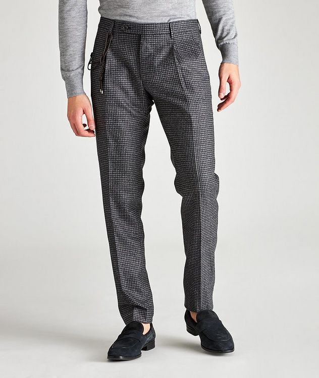 Morello Slim Fit Mini Check Wool Pants picture 1