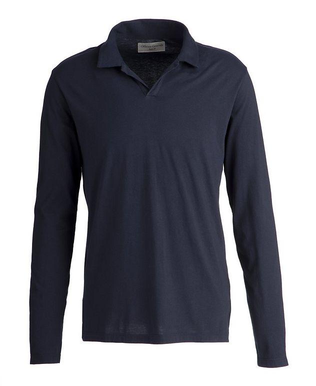 Simon Long-Sleeve Cotton-Modal Polo  picture 1