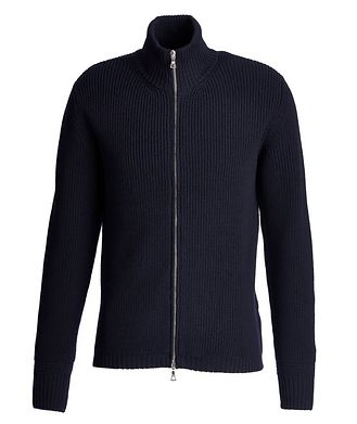 Officine Generale Fisherman's Knit Zip-Up Merino Sweater