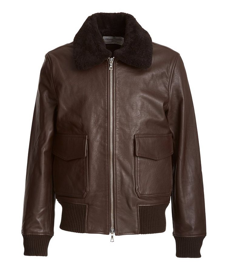 Shearling-Trimmed Leather Bomber Jacket image 0