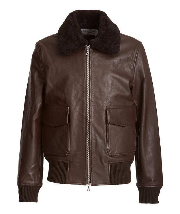 Shearling-Trimmed Leather Bomber Jacket picture 1