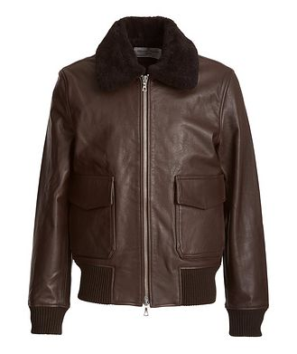 Officine Generale Shearling-Trimmed Leather Bomber Jacket