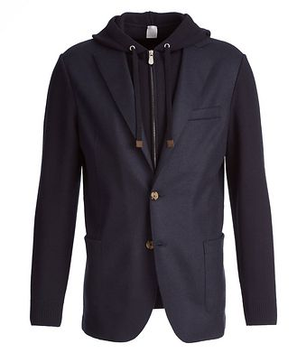 Eleventy Multi-Texture Wool-Flannel Sports Jacket