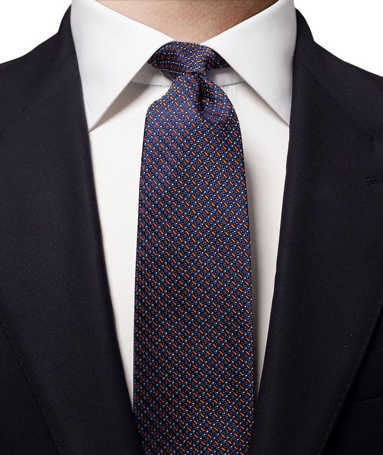 Geometric Printed Silk Tie image 1