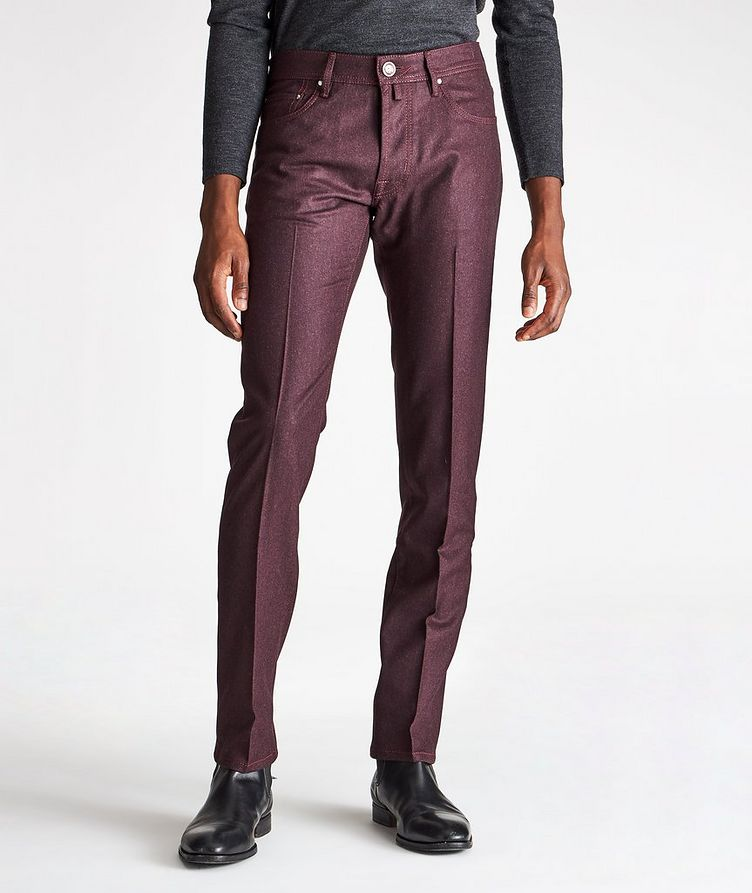 Pantalon en laine à cinq poches de coupe amincie image 0