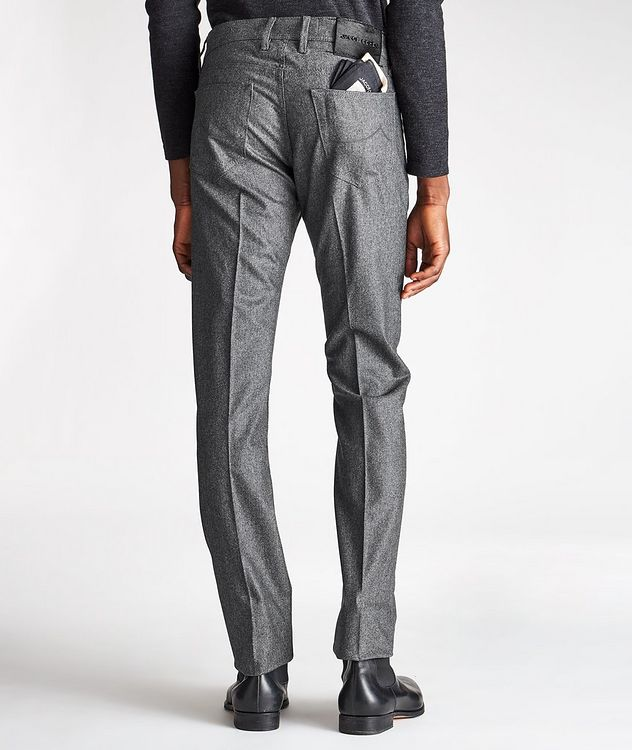Slim Fit Pleated Five-Pocket Wool Pants picture 2
