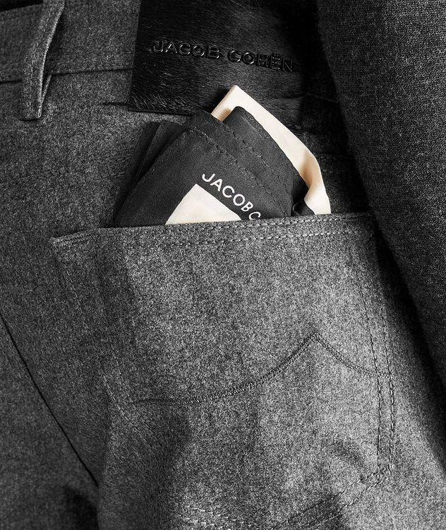 Slim Fit Pleated Five-Pocket Wool Pants picture 3