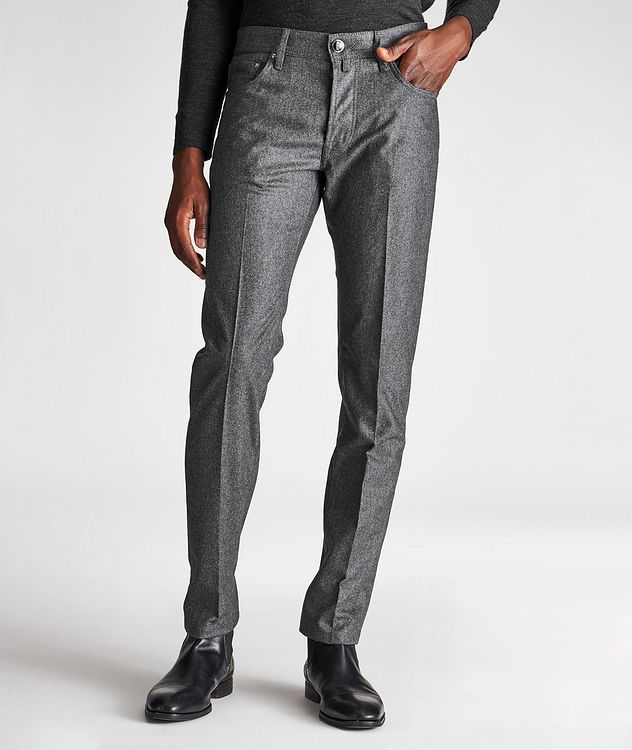 Slim Fit Pleated Five-Pocket Wool Pants picture 1