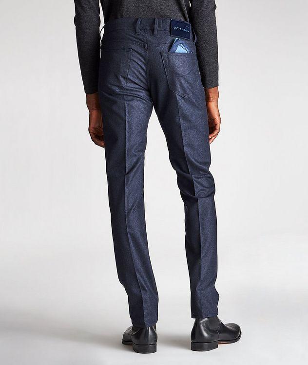 Pantalon en laine à plis et à cinq poches de coupe amincie picture 2