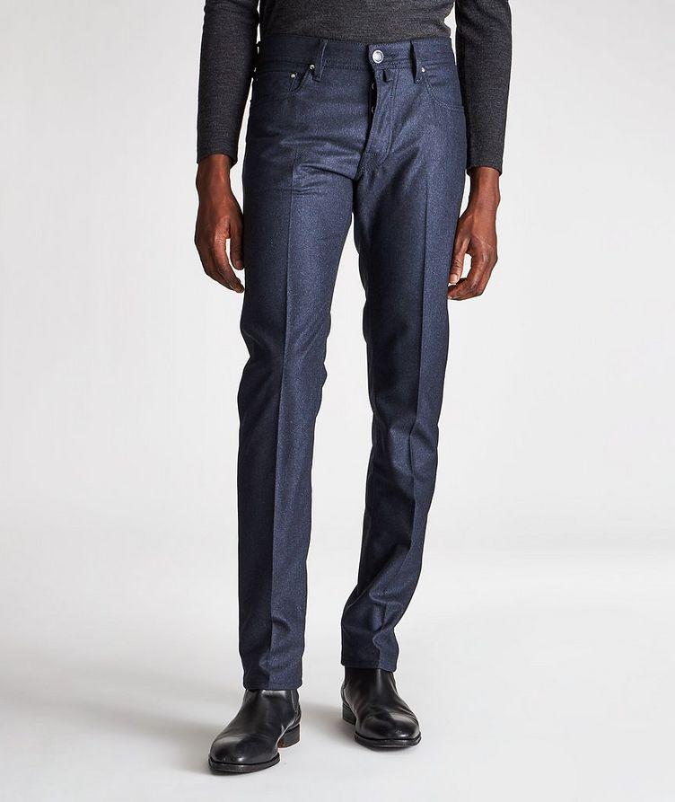 Pantalon en laine à plis et à cinq poches de coupe amincie image 0
