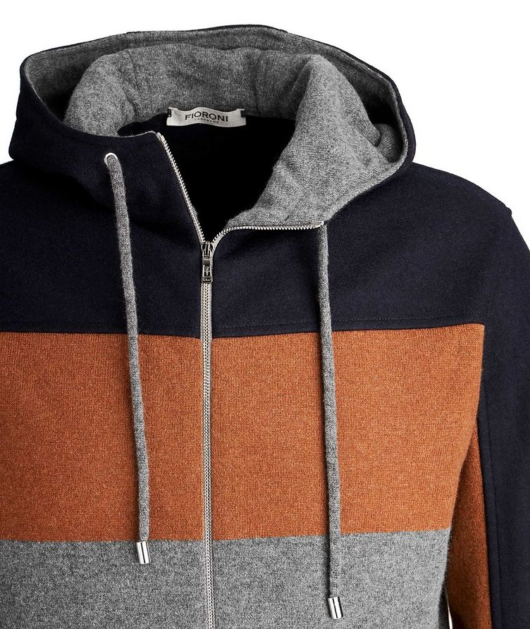 Colour Block Cashmere Zip-Up Hoodie image 2