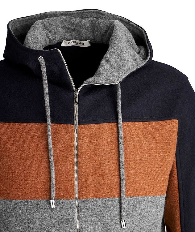 Colour Block Cashmere Zip-Up Hoodie picture 3