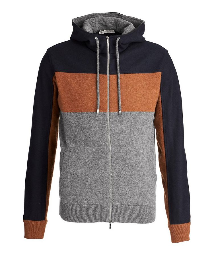 Colour Block Cashmere Zip-Up Hoodie image 0