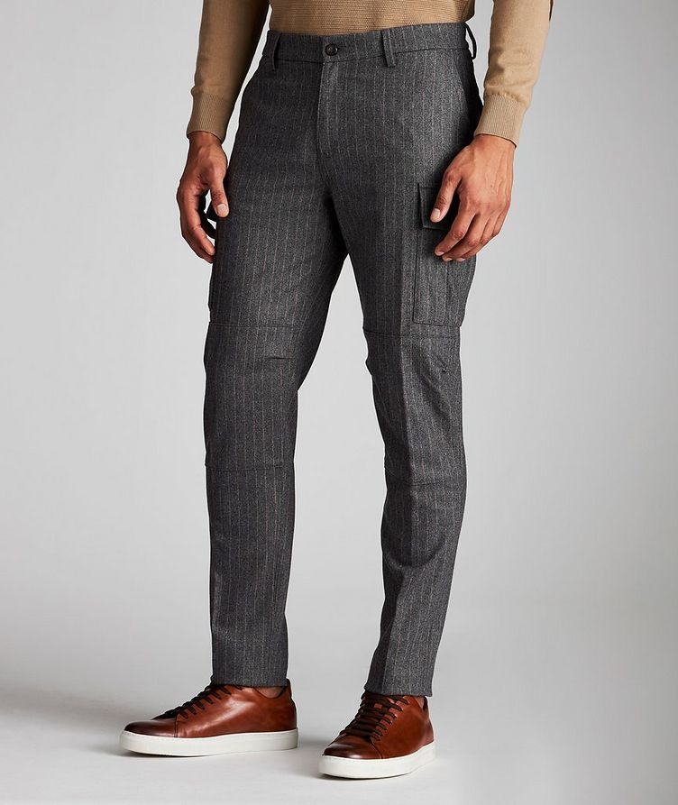 Striped Wool-Cashmere Cargo Pants image 0