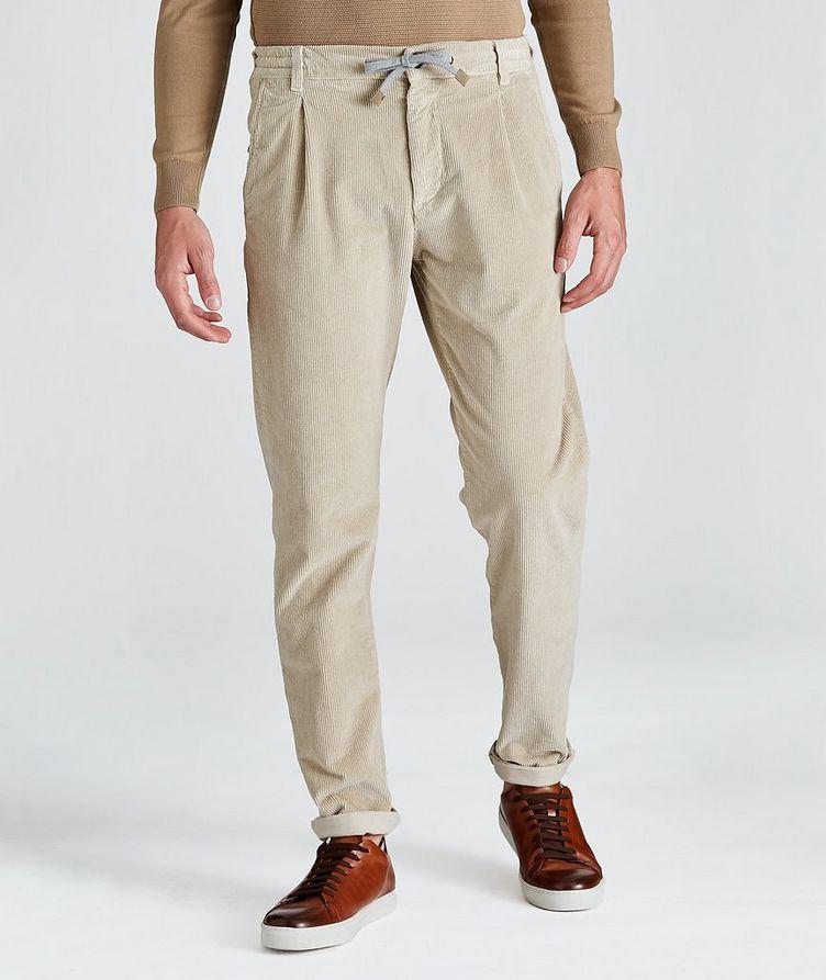 Pantalon en velours côtelé extensible à cordon image 0