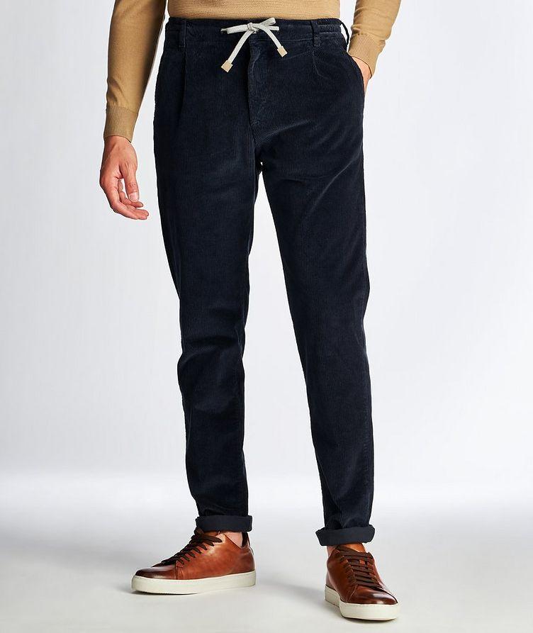 Drawstring Stretch Corduroy Pants image 0