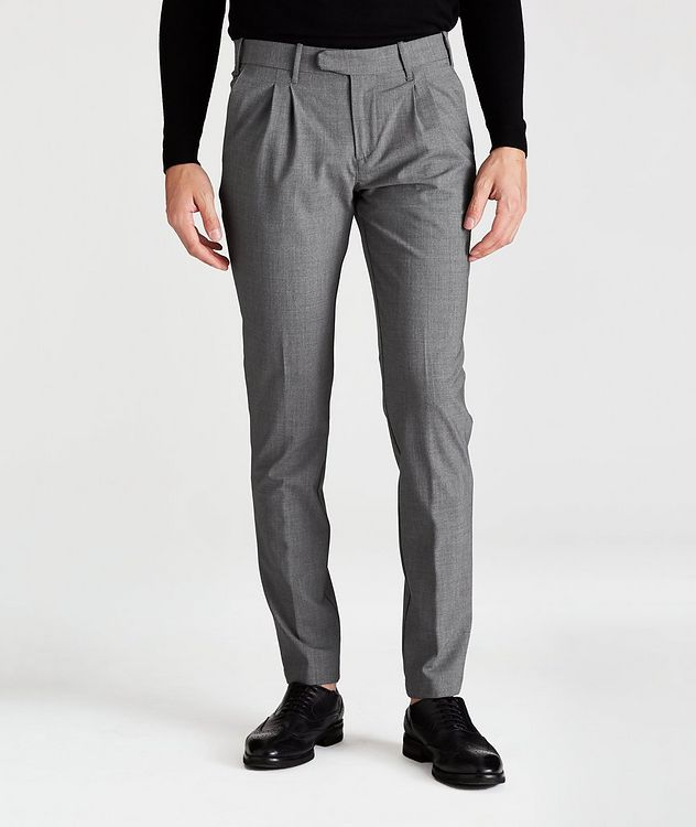 Double-Pleated Four-Way Stretch Wool Pants picture 1