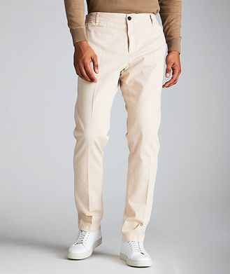 White Sand Striped Stretch-Cotton Chinos