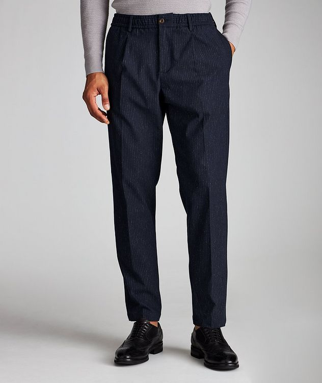 Pantalon en tissu extensible à rayures et à cordon picture 1
