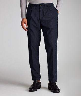 White Sand Striped Stretch Drawstring Pants