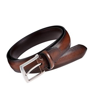 Harry Rosen Signature Ombré Crosshatched Leather Belt