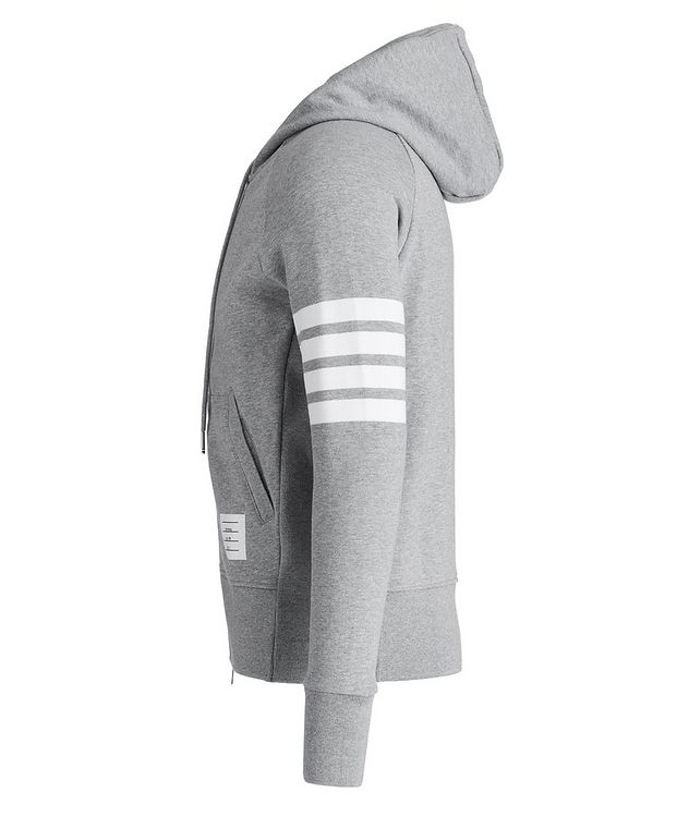 Striped-Sleeve Zip-Up Hoodie picture 2