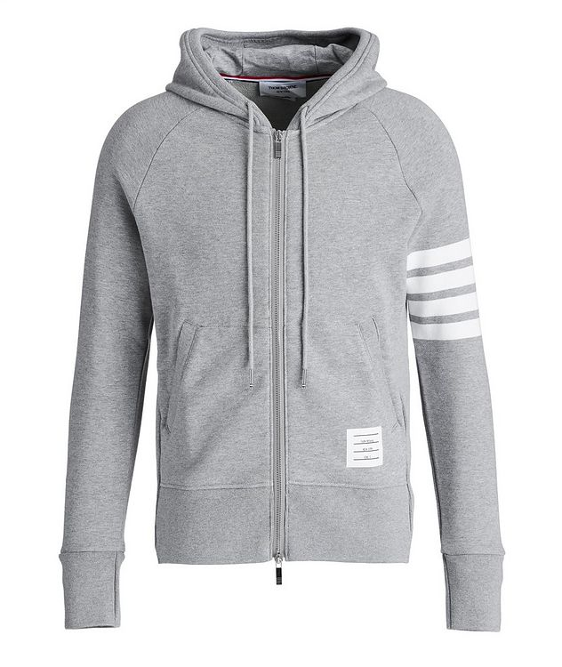 Striped-Sleeve Zip-Up Hoodie picture 1