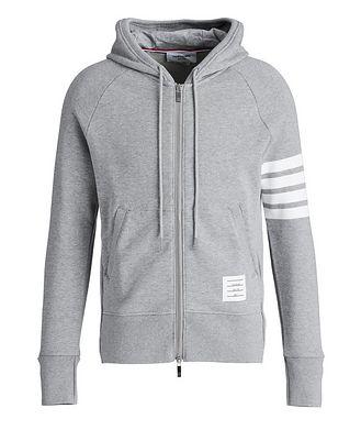Thom Browne Striped-Sleeve Zip-Up Hoodie