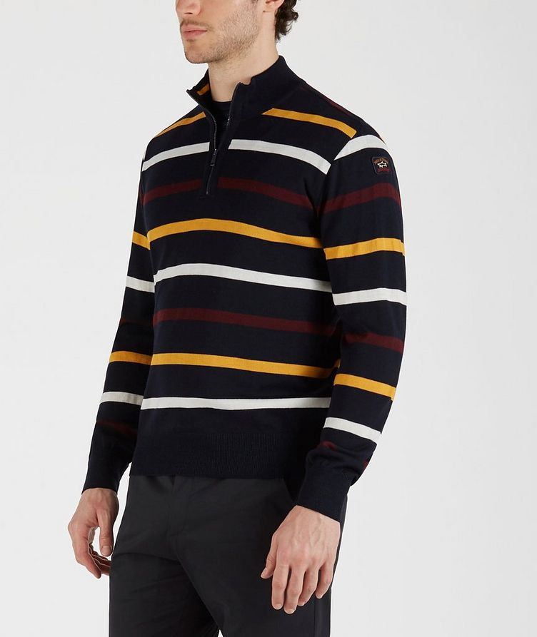 Half-Zip Striped Virgin Wool Sweater image 1
