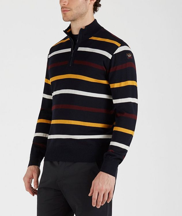 Half-Zip Striped Virgin Wool Sweater picture 2