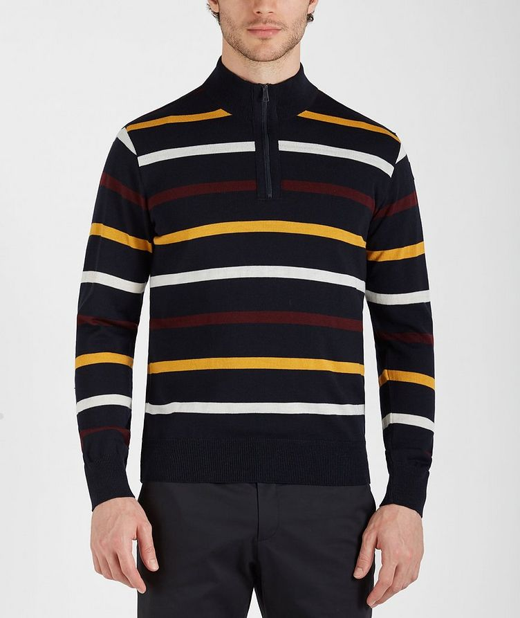 Half-Zip Striped Virgin Wool Sweater image 0
