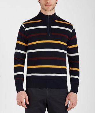 Paul & Shark Half-Zip Striped Virgin Wool Sweater