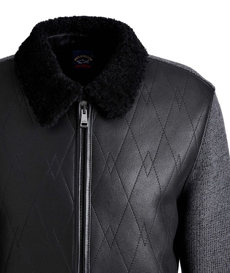 Lambskin and Wool Zip-Up Sweater image 2
