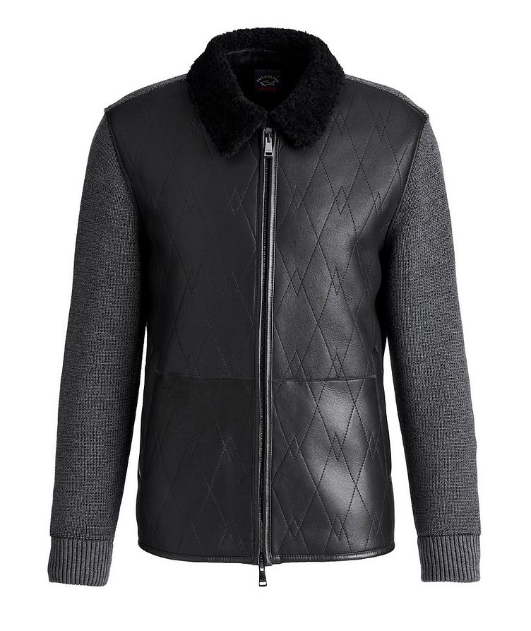 Lambskin and Wool Zip-Up Sweater image 0