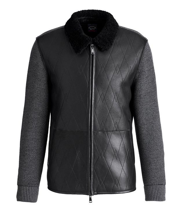 Lambskin and Wool Zip-Up Sweater picture 1