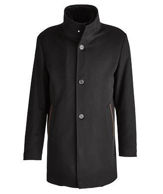 Paul & Shark Cashmere Fur Collar Rain System Overcoat