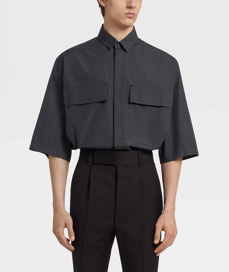 Short-Sleeve Oversized Cotton Shirt image 2