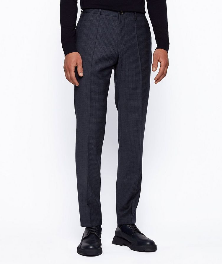 Slim Fit Checkered Stretch Wool Trousers image 1