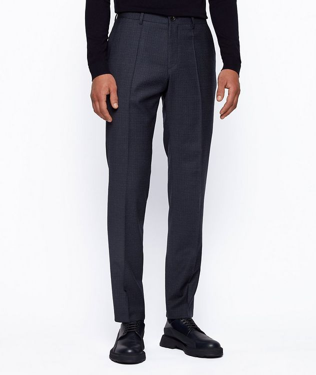 Slim Fit Checkered Stretch Wool Trousers picture 2