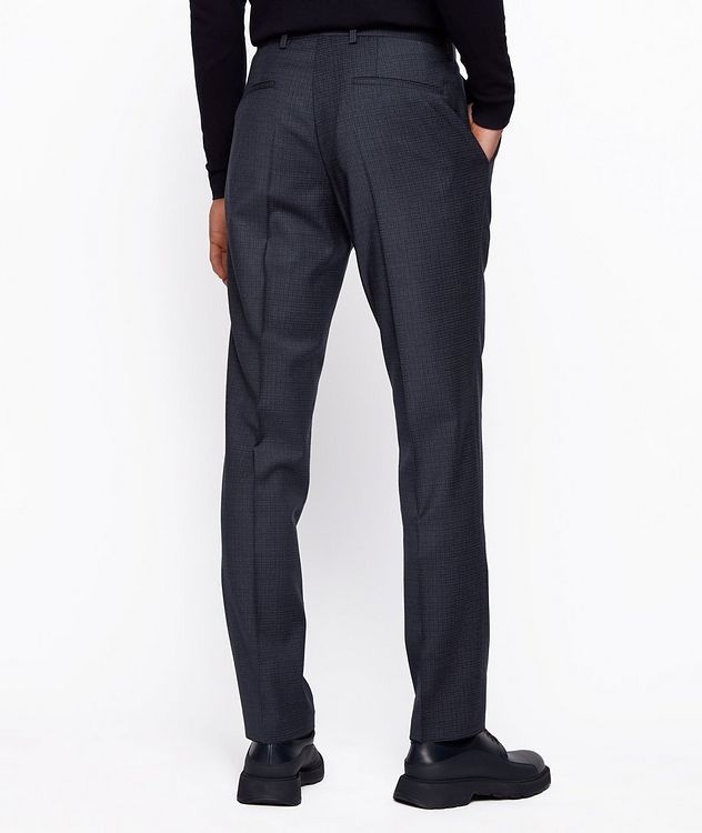 Slim Fit Checkered Stretch Wool Trousers picture 3
