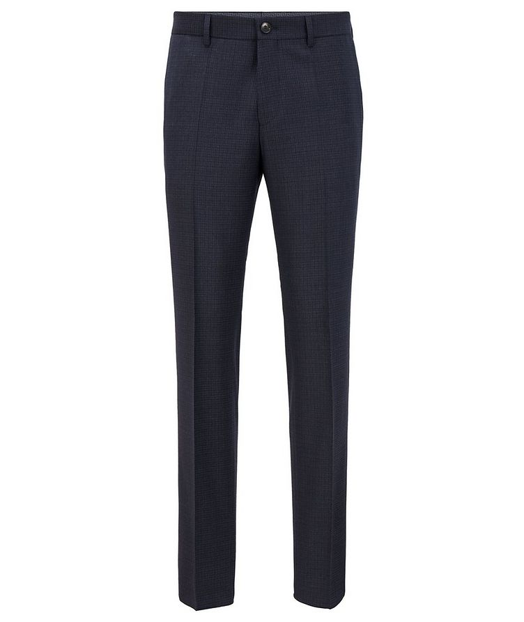Slim Fit Checkered Stretch Wool Trousers image 0