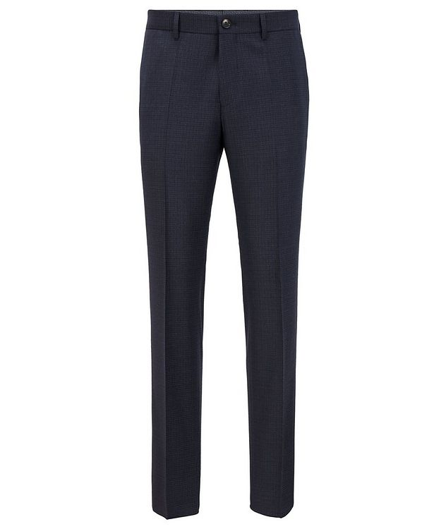 Slim Fit Checkered Stretch Wool Trousers picture 1