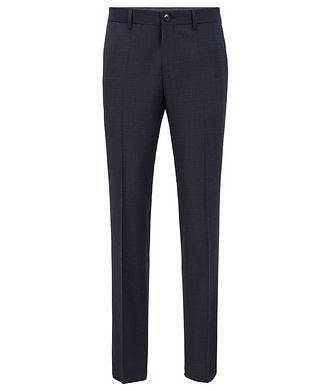 BOSS Slim Fit Checkered Stretch Wool Trousers