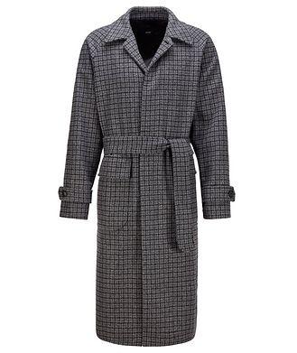 BOSS Gibor Checked Wool-blend Coat