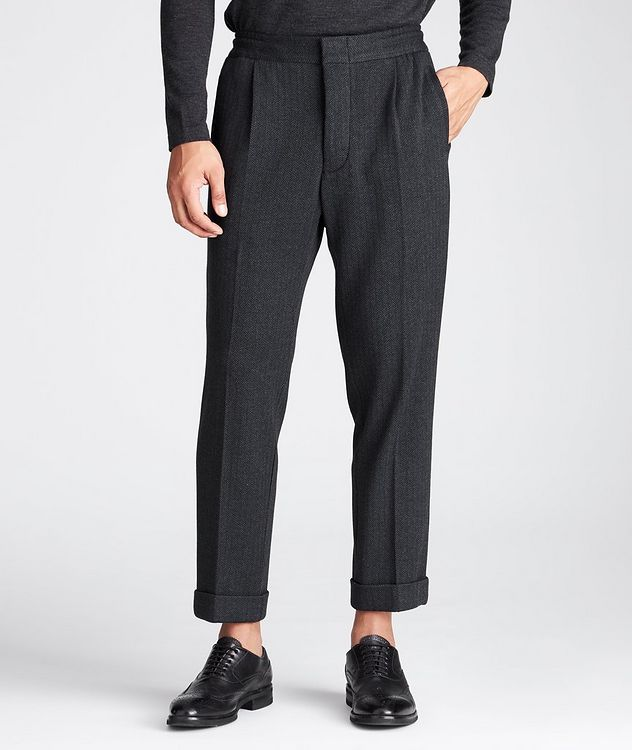 Slim Fit Cashmere-Cotton Trousers picture 1