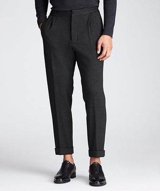 Kiton Slim Fit Cashmere-Cotton Trousers
